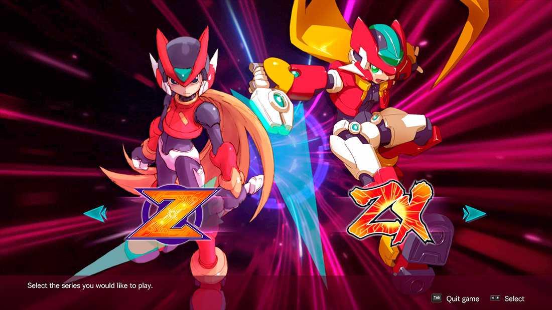 Mega Man Zero e ZX Legacy Collection menu