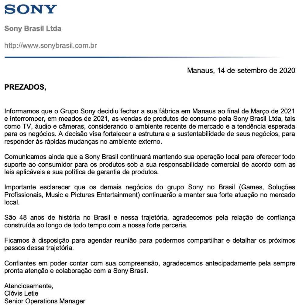 Sony Brasil Anuncio